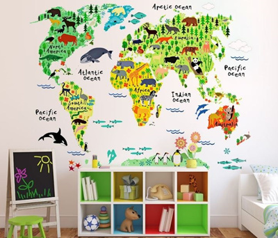Qoo10 - 【new arrival】Kids Educational Animal World Map Wall ...