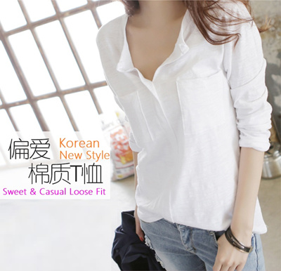 f5542315679 ☆New Arrival☆ Stylish Korean Women White Shirts/Tops/Tees Casual Loose Fit