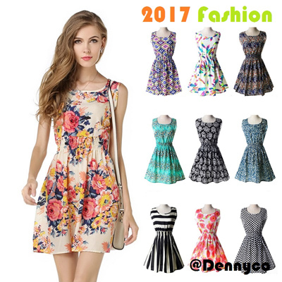 2021764cac7  New Arrivals Fashion Women Girl Dress Print Casual Clothes Female Office  Lady Bohemian Dresses