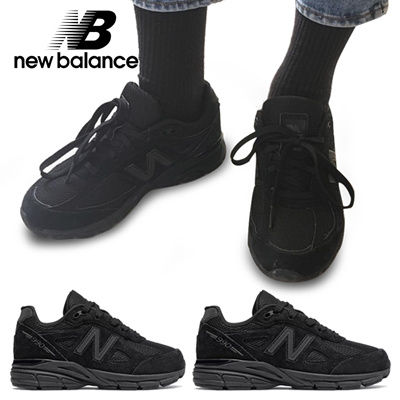 newest 56f52 3694d New Balance 990 triple black sneakers (can be worn by adult women)