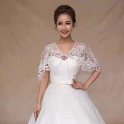 f6efe3809e978 New Bridal Wrap Wedding Cloak Shawl White Shrug Cape Lace Sheer Bolero  Jacket
