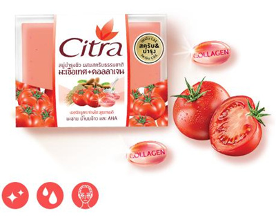 NEW CITRA TOMATO+COLLAGEN WHITENING SOAP -For bright and tight skin 100g