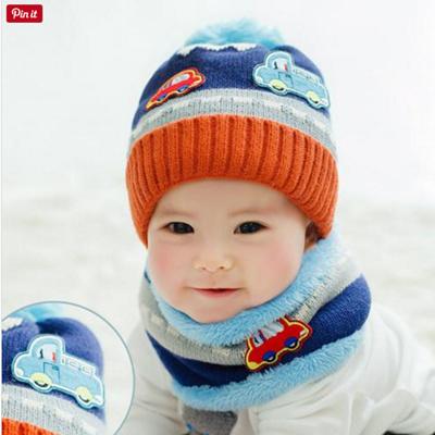 Qoo10 New Cute Baby Girl Boy Knitted Hat Scarf Set Car Pattern