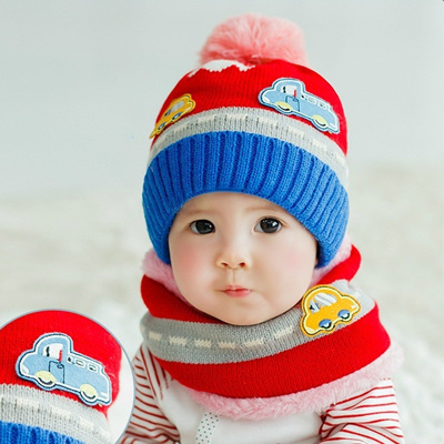 Qoo10 - New Cute Baby Girl Boy Knitted Hat Scarf Set Car Pattern Fleece Warm  C...   Women s Clothing 5ec8bba60540