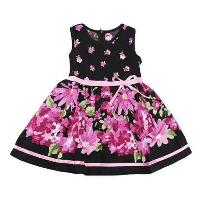 Toddler Baby Girls Lovely Floral Print Sleeveless Bowknot Princess Dress Outfits
