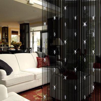 New Decorative String Curtain Sheer With 3 Beads Door Window Panel Room  Divider