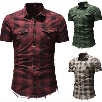 50be1ddcf5 Qoo10 - New Denim Burrs Classic Square Plaid Shirt MenS Short-Sleeved Denim  Sh...   Men s Apparel