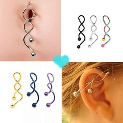New Fashion 1pieces Twist Spiral Ear Industrial Piercing Barbells Belly Button Ring Navel Piercing N