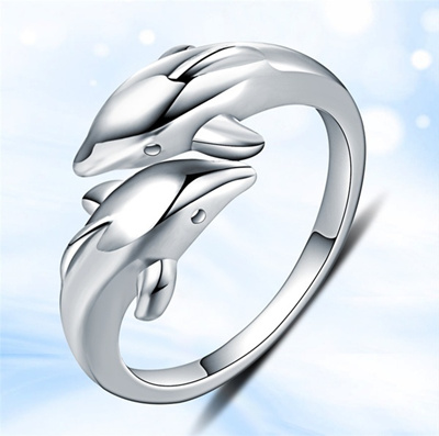 New Fashion 925 Sterling Silver Double Dolphin Opening Adjustable Rings Gift New t0POdpgl