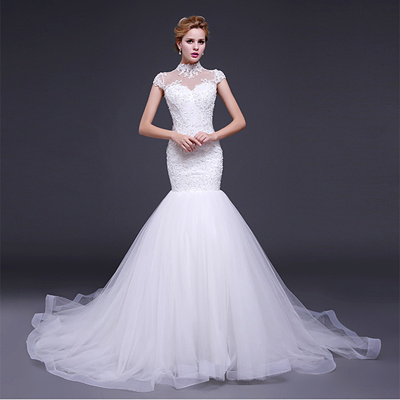 New Fashion Luxury Sexy Mermaid Wedding Dresses Long Tail High Neck Lace Appliques Vestido De Noiva