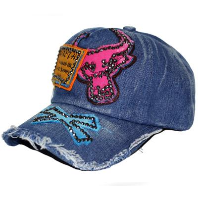 9f03e1912e4 Qoo10 - NEW FASHION RHINESTONE STUDDED PINK BULLS ARMY CAP HAT   Fashion  Accessories
