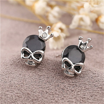 New Fashion Skull Earrings With Crown Crystal Decoration Stud For Women Silver Plate