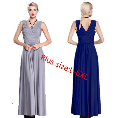 55085aea2e Qoo10 - New Fashion Women Sleeveless V-Neck Semi-Formal Maxi Dress :  Women's Clothing