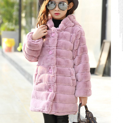 44f6da4e0 New Girls Faux fur jackets Winter thickness Hooded kids Coats Casaco  Infantil Girls Jacket 7CT073