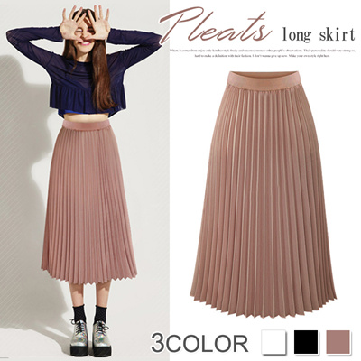 b89805689132 Qoo10 - New item ladies long skirt /chiffon skirt /casual style/pleats skirt  d... : Women's Clothing