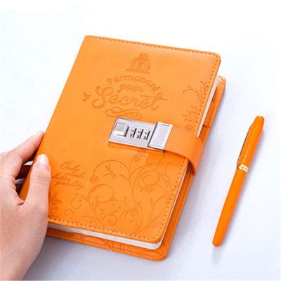 Qoo10 - New Leather Diary Notebook with Lock code notepad paper 120