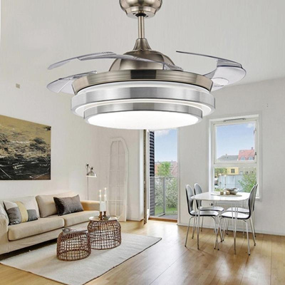 Qoo10 New Led Crystal Invisible Ceiling Fan Light Modern Living