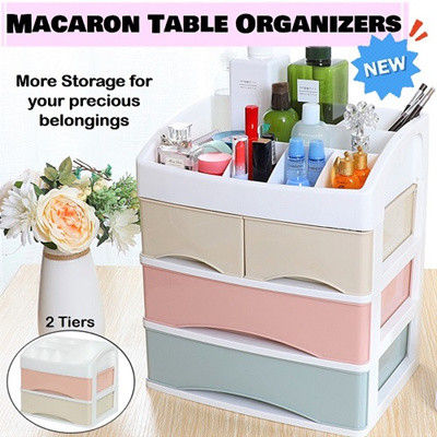 【NEW】Macaron Cosmetic/Makeup Organizers ★Large Compartment ★Table  Organizers ★2/3 Drawers ★Storage