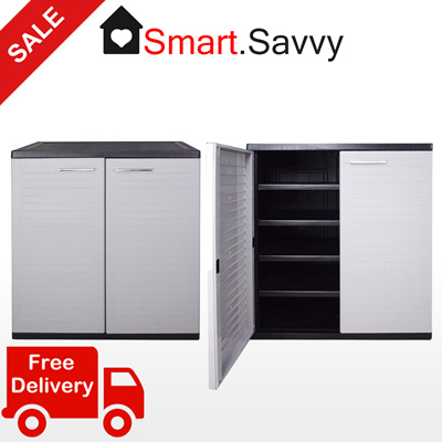 Optimus Low Cabinet Grey | Plastic Storage | SIMPLE ASSEMBLY| FREE DELIVERY  To