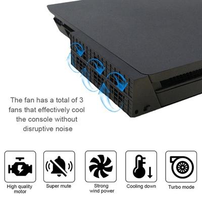 New PS4 Slim Cooling Fan USB External Super Turbo Temperature Cooler  Control (Color: Black)