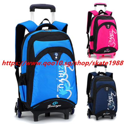 d8277b1f3750 Qoo10 - New Removable Children School Bags With Wheels Stairs Kids Trolley  Sch...   Kids Fashion