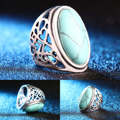 Qoo10 New Retro Hollow Turquoise Rings Fashion Bohemian Jewelry