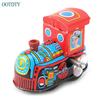 New Retro Steam Train Reminiscence Children Vintage Tin Toy Clockwork Toys  Gift #330