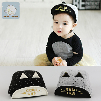 3efd54a7bb0 Qoo10 - New spring cotton baby Hat baby child cute cat style baseball caps  sof...   Kids Fashion