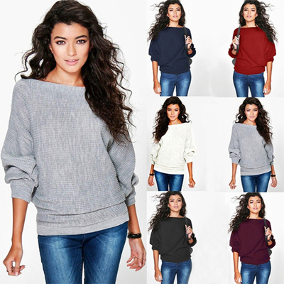 Qoo10 New Stylish Women Ladies Oversized Knitted Batwing Jumper