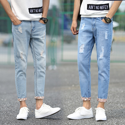 34167e51339e Qoo10 - New summer jeans men and nine hole in the pants washed denim shorts  93... : Men's Clothing