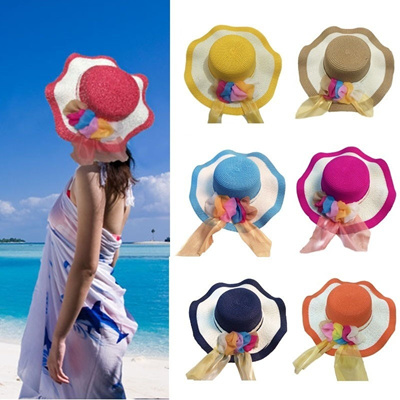 Qoo10 - New Summer Women Girl Straw Hat Wide Wave Brim Colorful Ribbon  Floppy ...   Fashion Accessor. 3d386929be72