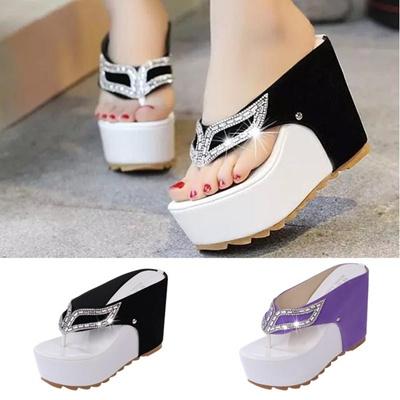 e364e0ed1613b2 Qoo10 - New Thick Bottom Platform Flip Flops Rhinestone Wedge Heel Shoes  Patch...   Household   Bedd.