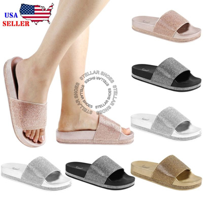 4d658cd406c0 Qoo10 - NEW Women s Rhinestone Glitter Crystal Slide Footbed Platform  Sandal S...   Shoes
