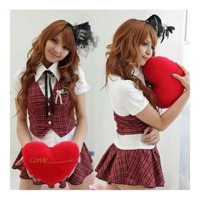 01f40b4d7 Qoo10 - New work red check cute girls high school uniform costume 4 point  set ... : Women's Fashion