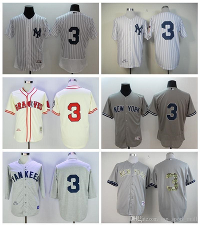 the best attitude 46942 0be65 New York Yankees 3 Babe Ruth Jersey Cooperstown 1929 Retro Babe Ruth  Baseball Jerseys White Pinstrip