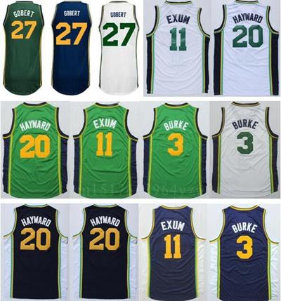 watch df6b1 d1ef5 Newest 11 Dante Exum Jersey 3 Trey Burke 20 Gordon Hayward 27 Rudy Gobert  Basketball Jerseys Shirt Team Navy Blue White Green