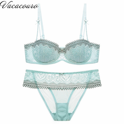 Qoo10 - Newest Women 1 2 Cup Push Up Bra and Panties Sets Sexy Lace-trim  Plung...   Underwear   Sock. bca4d19ad