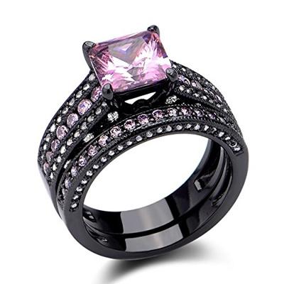 Qoo10 Newshe Jewellery Black Wedding Ring Sets Princess Cut