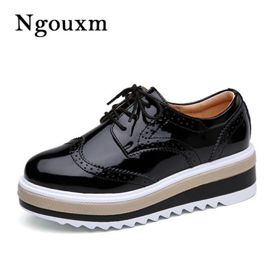 0f36e7e88e3973 Qoo10 - Ngouxm Women s genuine Leather Oxfords platform Shoes 2018 Casual  Flat...   Shoes