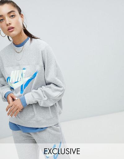 Nike Exclusive Archive To Logo Scribble Asos Sweatshirt NIKE나이키 Grey JcKTlF1