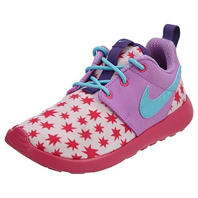 innovative design f224f 8a7ed NIKE Nike Kids Roshe One Print (PS) Prsm Pnk/Td Pl Bl/Fch Glw/Pnk Running  Shoe 3 Kids US
