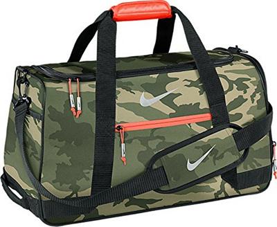 NIKE Nike Sport Duffel III Gym Bag, MD Olive/Silver/Bright Crimson Camo