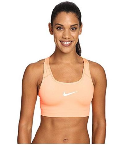 c0b5f75d8cba1 (Nike) Nike Womens Pro Classic Swoosh Compression Graphic Sports Bra  Peach Orange-