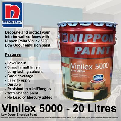 Qoo10 - Nippon Paint Vinilex 5000 Low Odour Emulsion Paint 20 ...