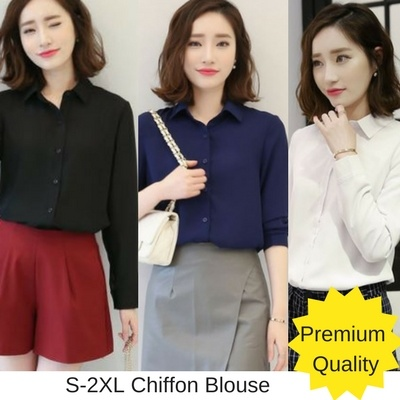 Qoo10 No Option Premium Quality Woman Smart Casual Blouse 3 In
