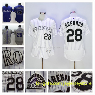 new arrival 6c9d1 2d5f4 Nolan Arenado Jersey 2016 New Flexbase Colorado Rockies Jerseys White  Pinstripe Purple Grey