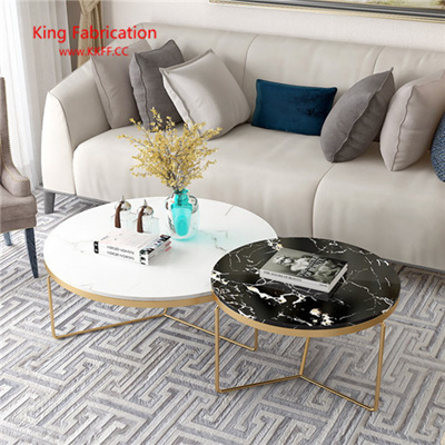 Nordic Marble Coffee Table Modern Living Room Iron Tea Table Circular  Toughened Glass Table