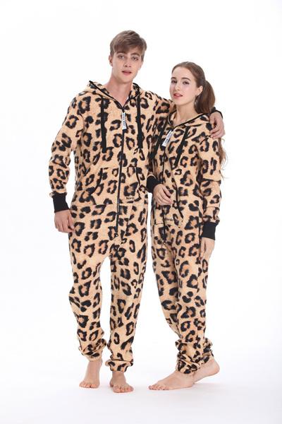 e74a8d405071 Nordic Way Leopard Print Onesie All In One Hoodies Fleece Romper Unisex  Adult Playsuit