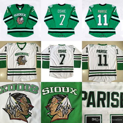 low priced a63a9 63286 North Dakota Fighting Sioux Hockey Jersey #7 TJ Oshie 11 Zach Parise blank  Green University Throwbac
