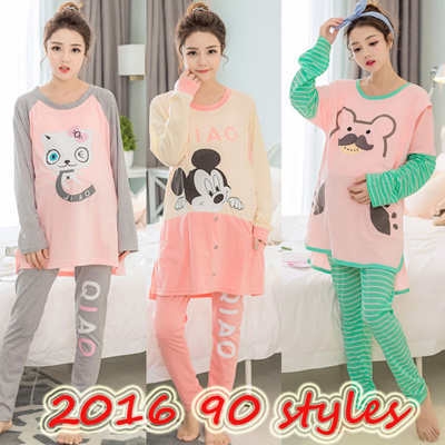 Nursing Breastfeeding Pyjamas Confinement Maternity Sleepwear Pregnant women  pajamas long-sleeved 8b5dd96b9